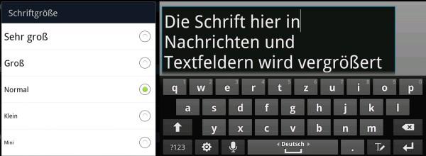 Samsung Galaxy Note Schritgröße
