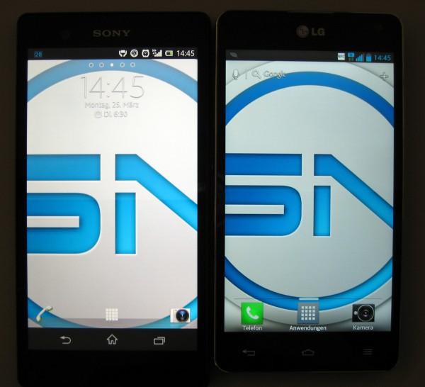 Sony Xperia Z vs. LG Optimus G im Display Vergleich - smartcamnews.eu