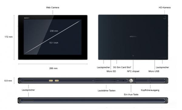 Sony Xperia Z Tablet - Ansicht - Maße