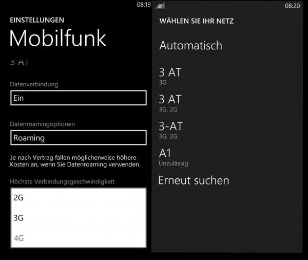 Netzwahl - Nokia Lumia 1020 - smartcamnews.eu