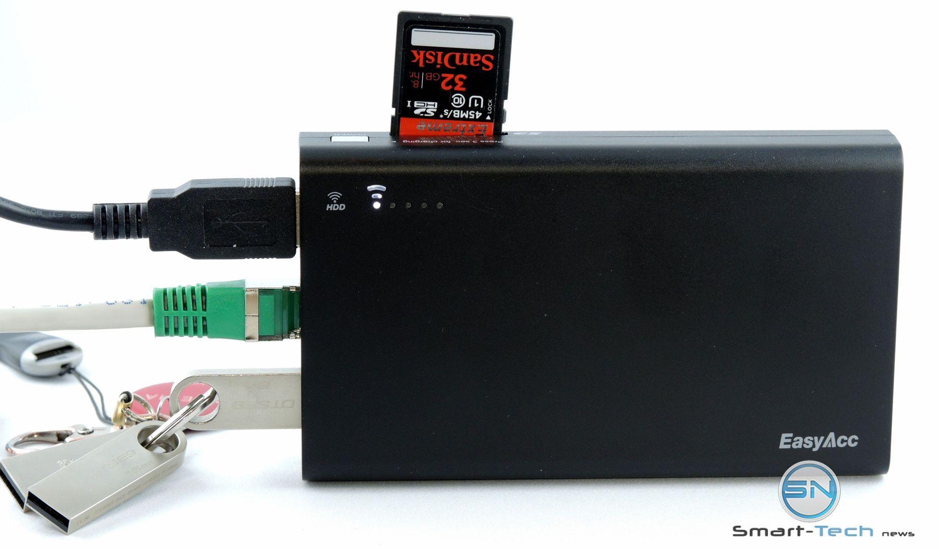 EasyAcc PowerBank – 5in1 WLan, SD, Akku, USB, LAN