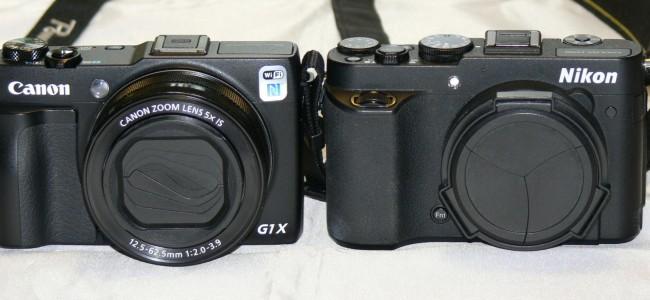 Front Ansicht der Canon G1xmarkII vs Nikon P7700 - SmartCamNews