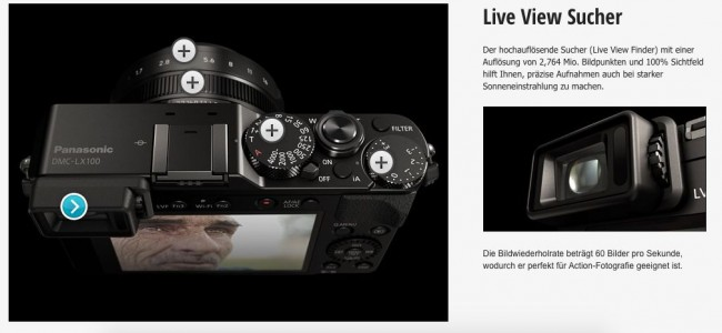 Panasonic LX 100 - LiveView Sucher