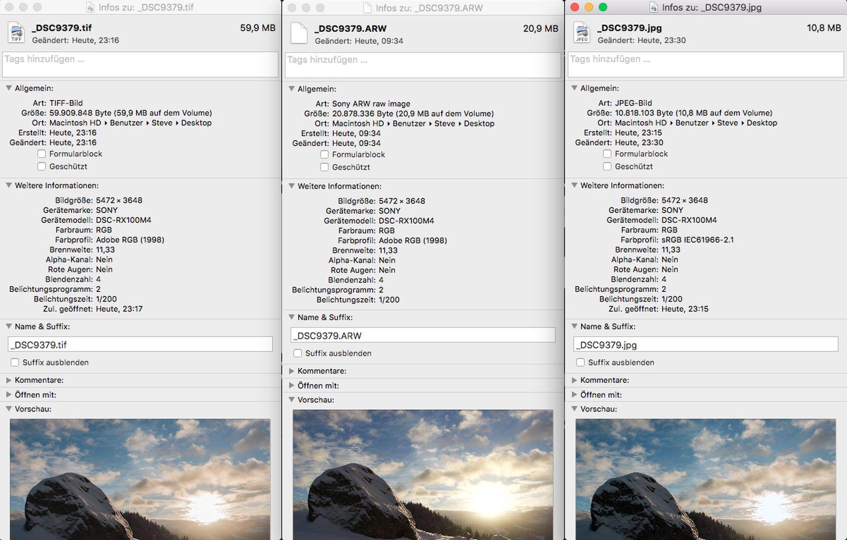 TIFF RAW JPG Vergleich - Sony RX100mIV - SmartCamNews